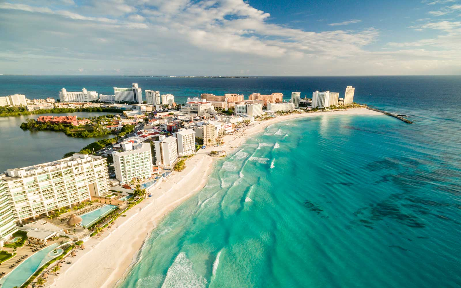 Aerial View of Caribbean Coastline in Cancun