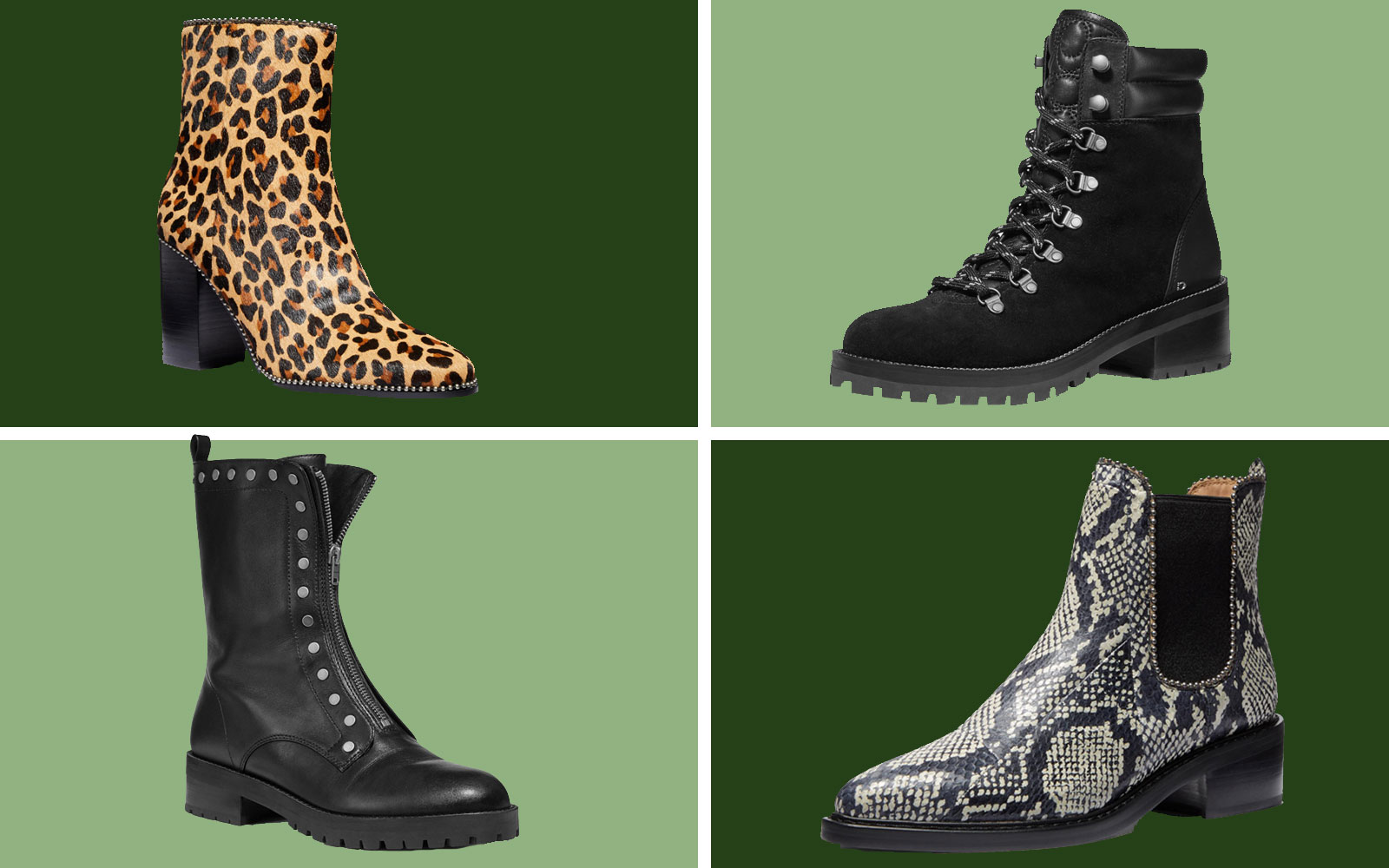 Variety of Four Booties Heeled and Flat