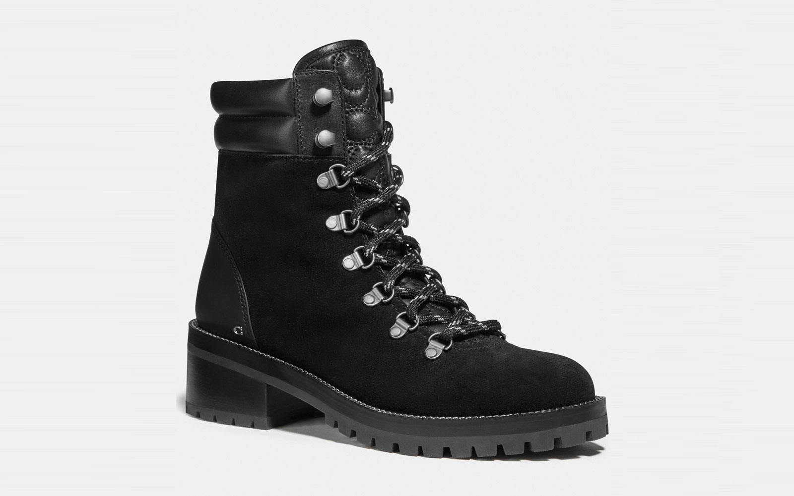 Black Suede Lace-up Booties