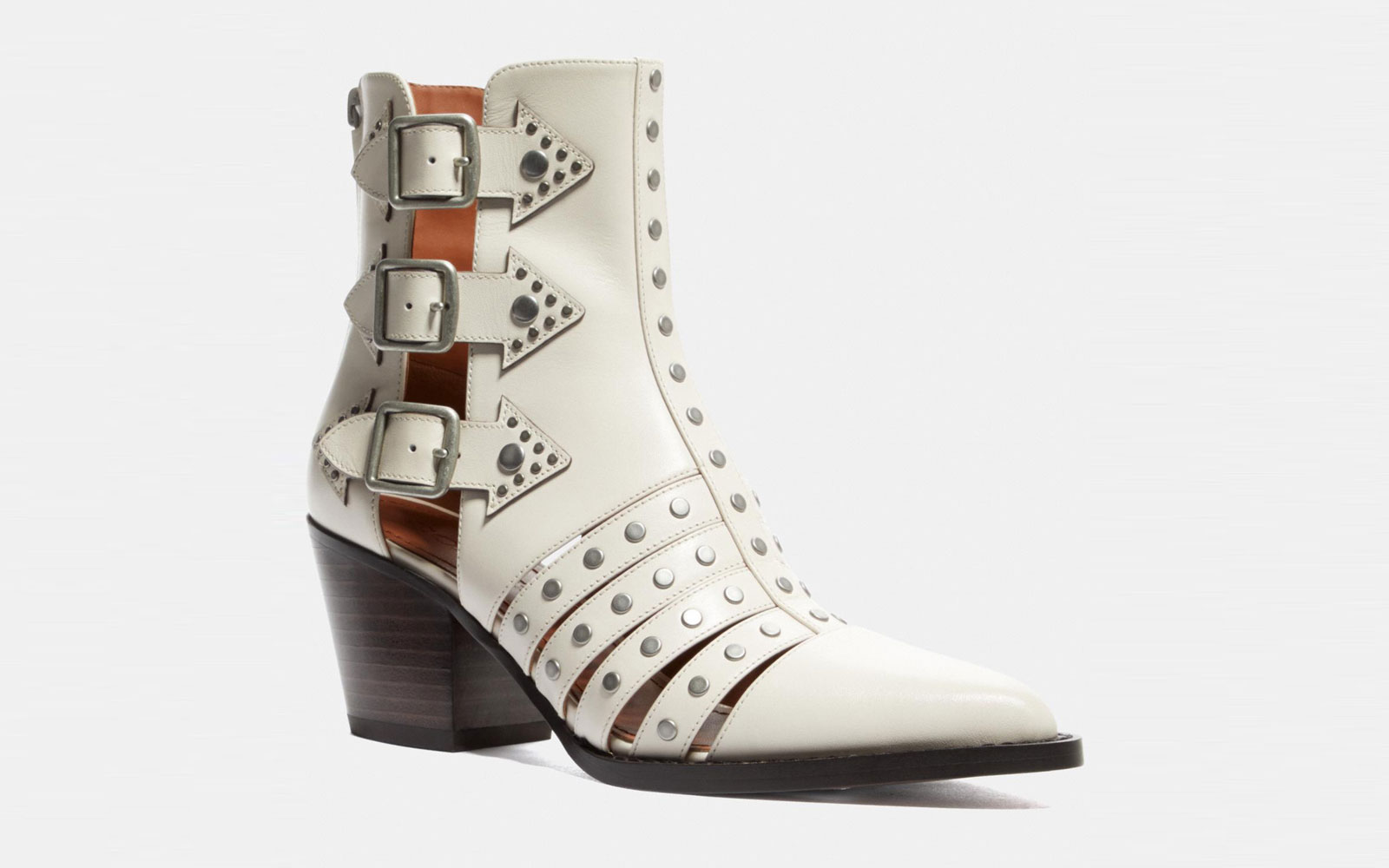 White Leather Buckled Booties