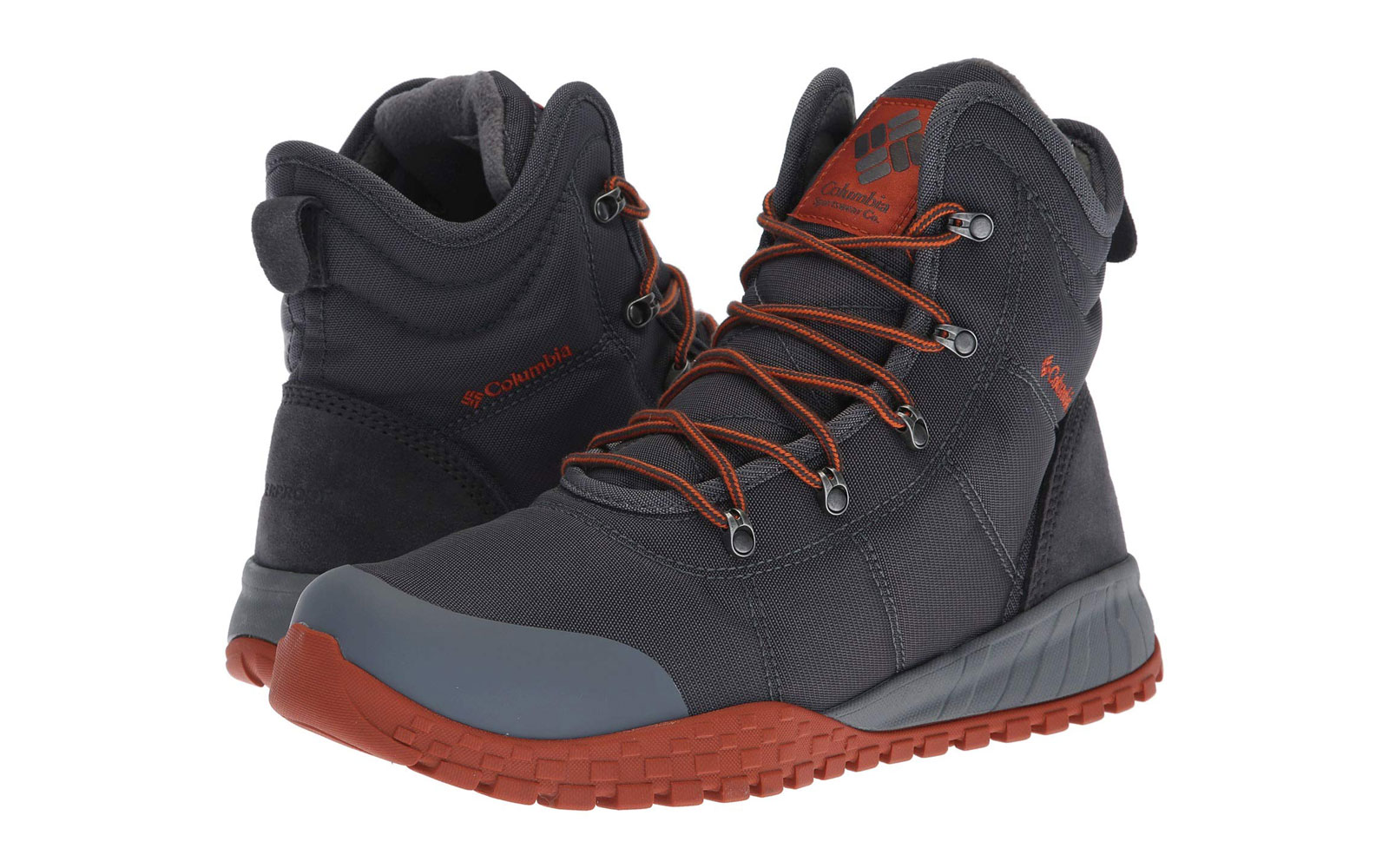 Men's Black, Grey, and Red Snow Boots