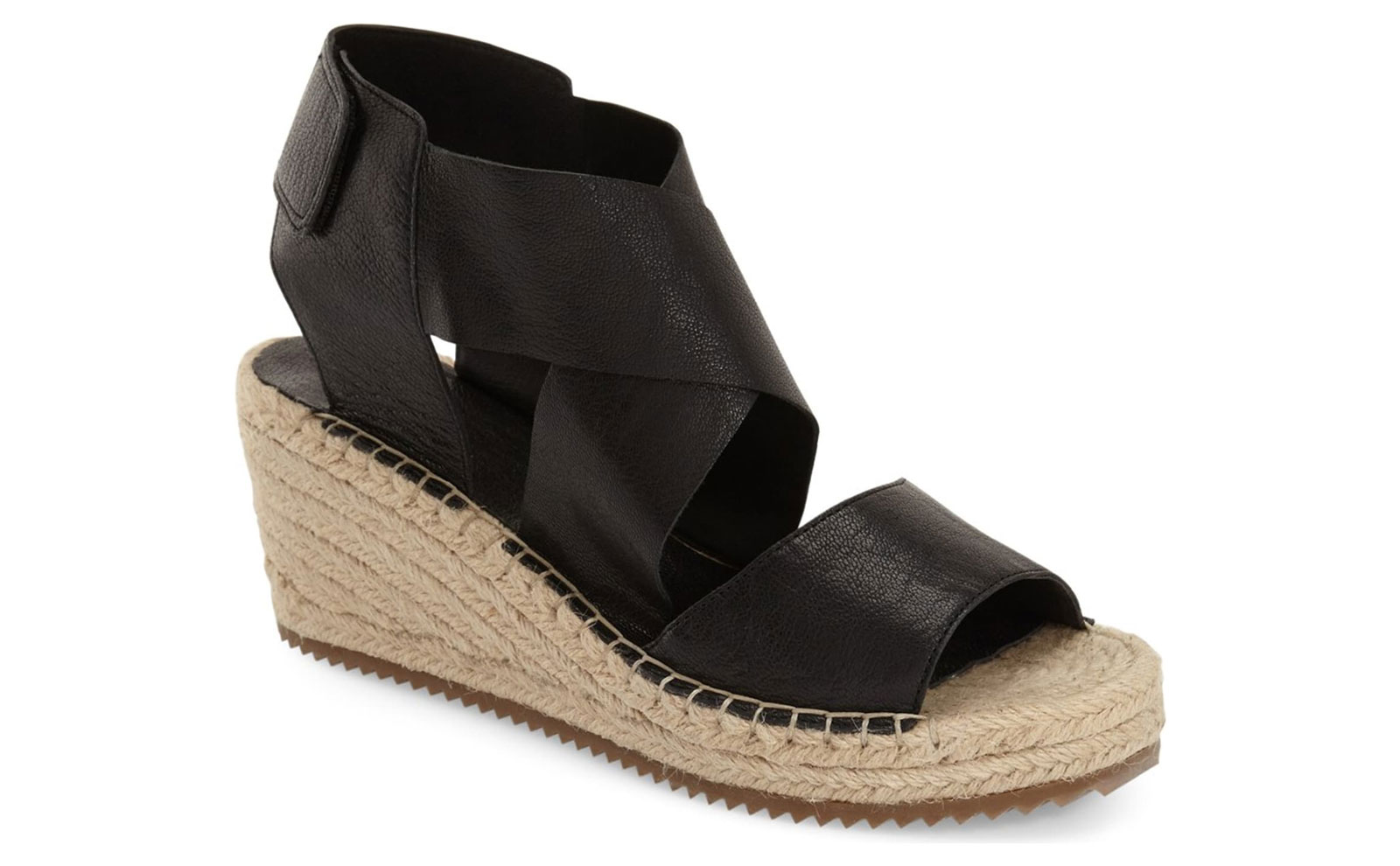 Black and Tan Espadrille Wedges
