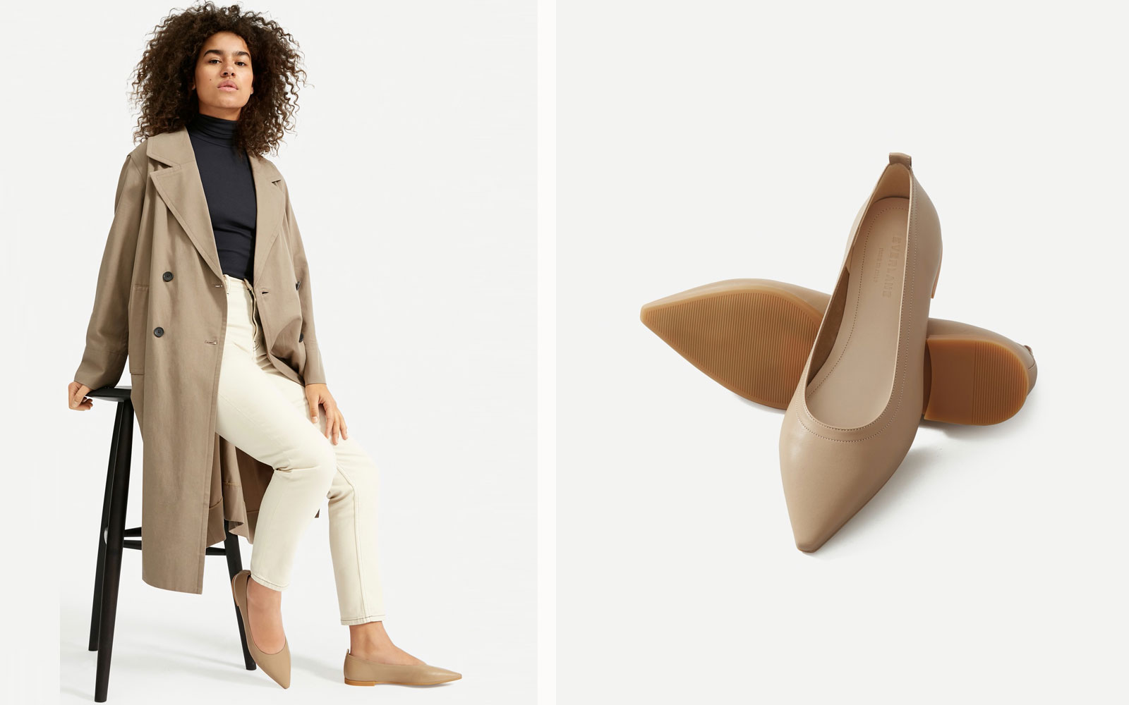 Woman Wearing Taupe Pointed Toe Flats