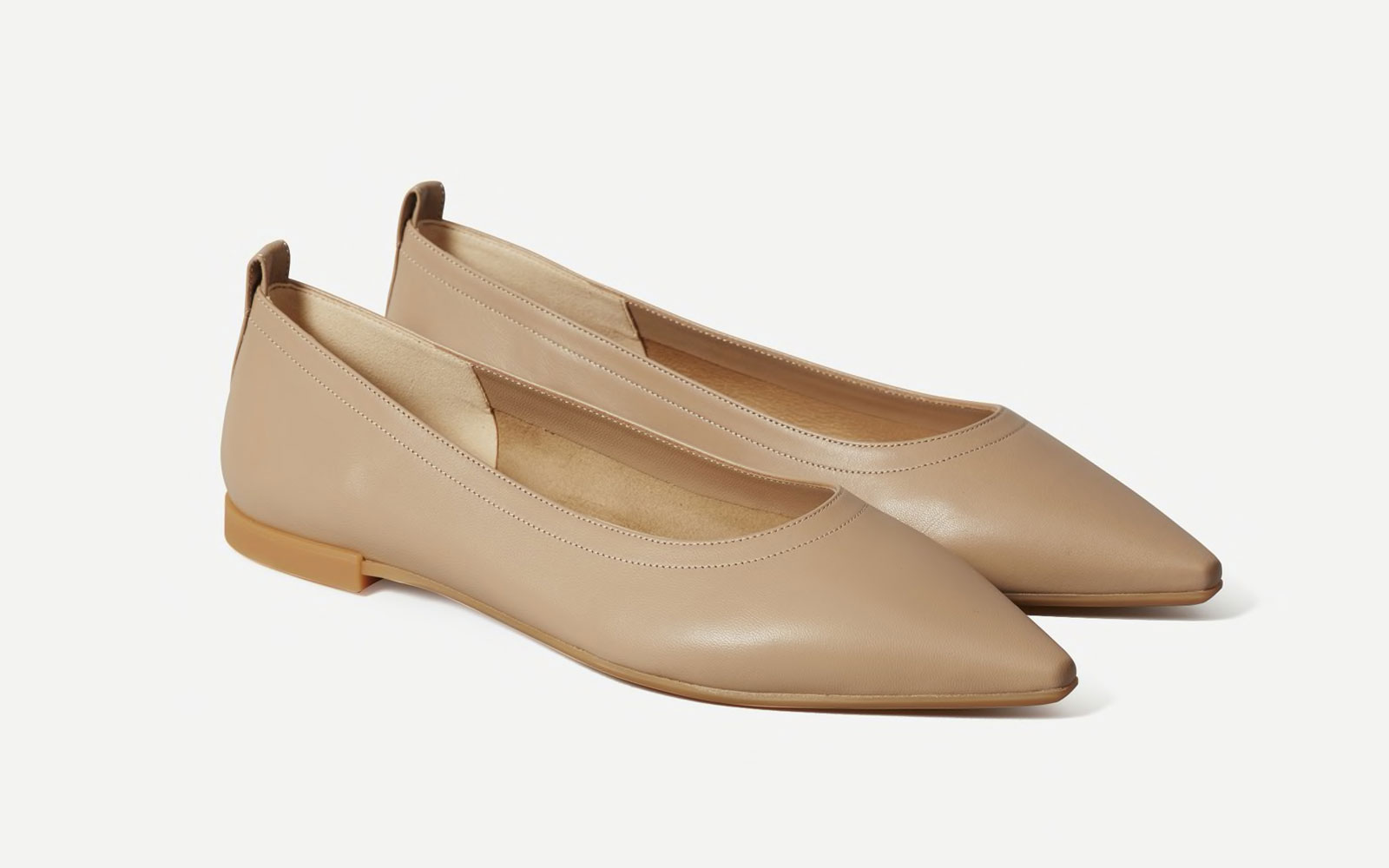 Taupe Leather Pointed Toe Flats