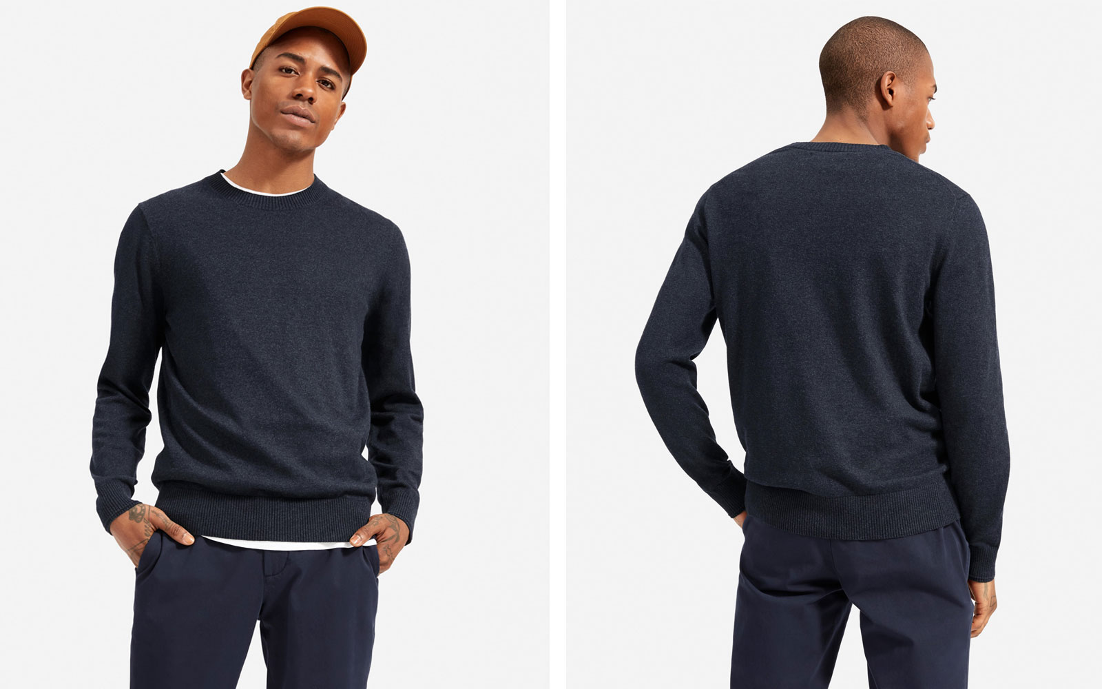 Man wearing navy long sleeve sweater