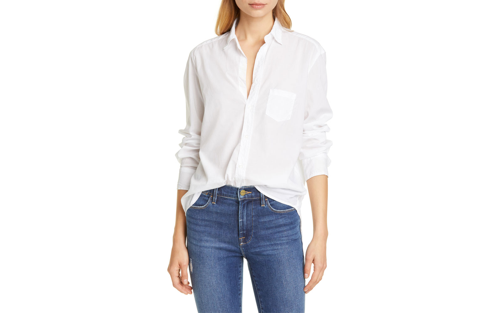 Women's white button down shirt