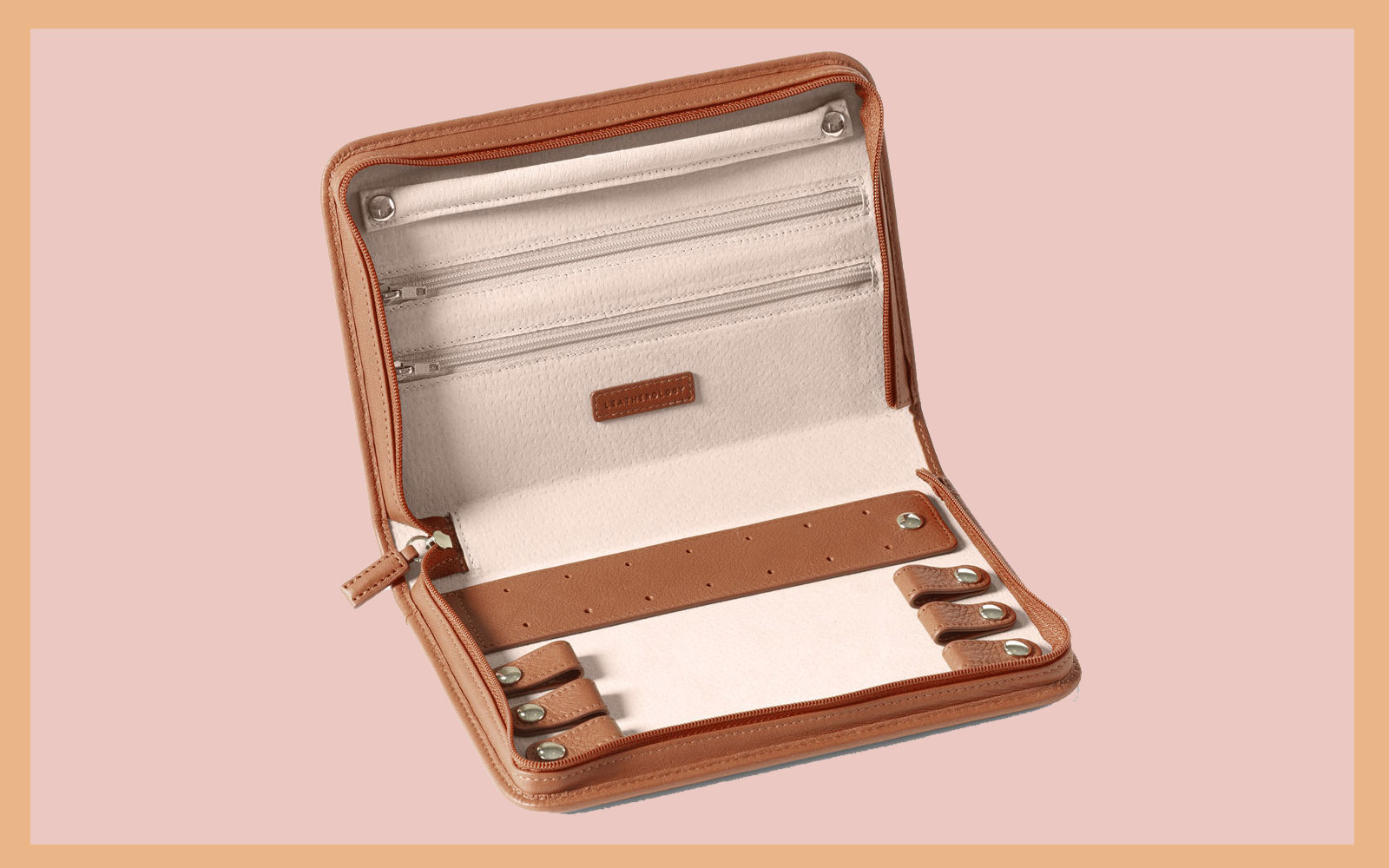 Brown/Tan Leather Jewelry Travel Case Interior