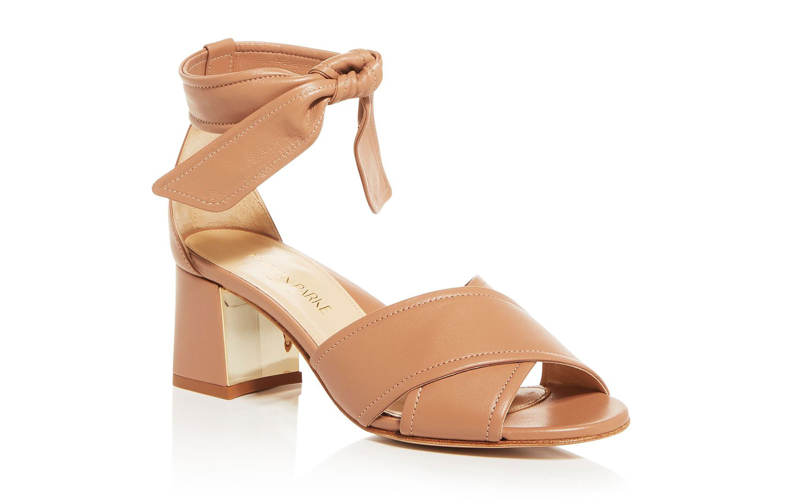 Women's tan leather heeled sandals