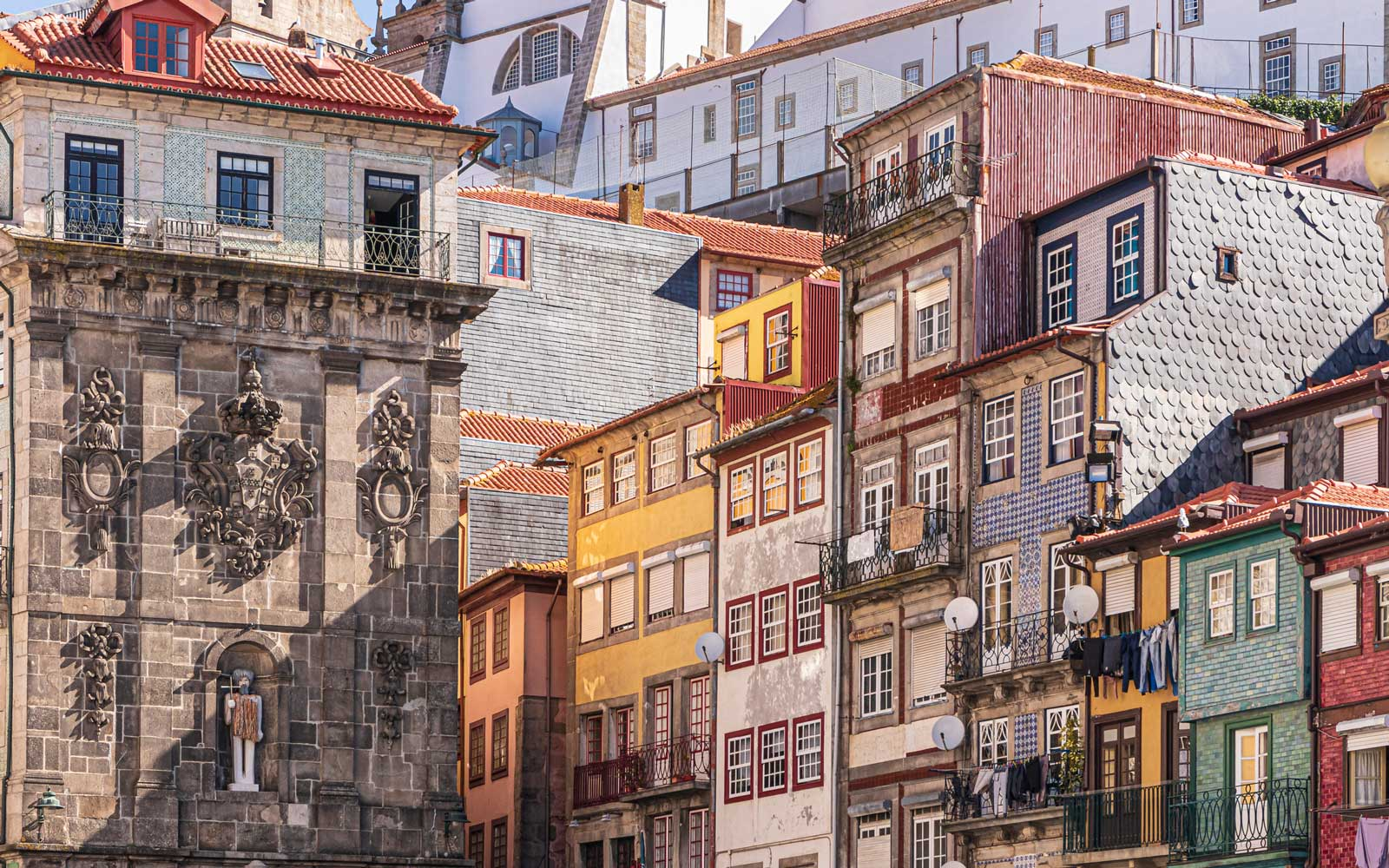 Building facades on Ribeira Square in Porto, Portugal