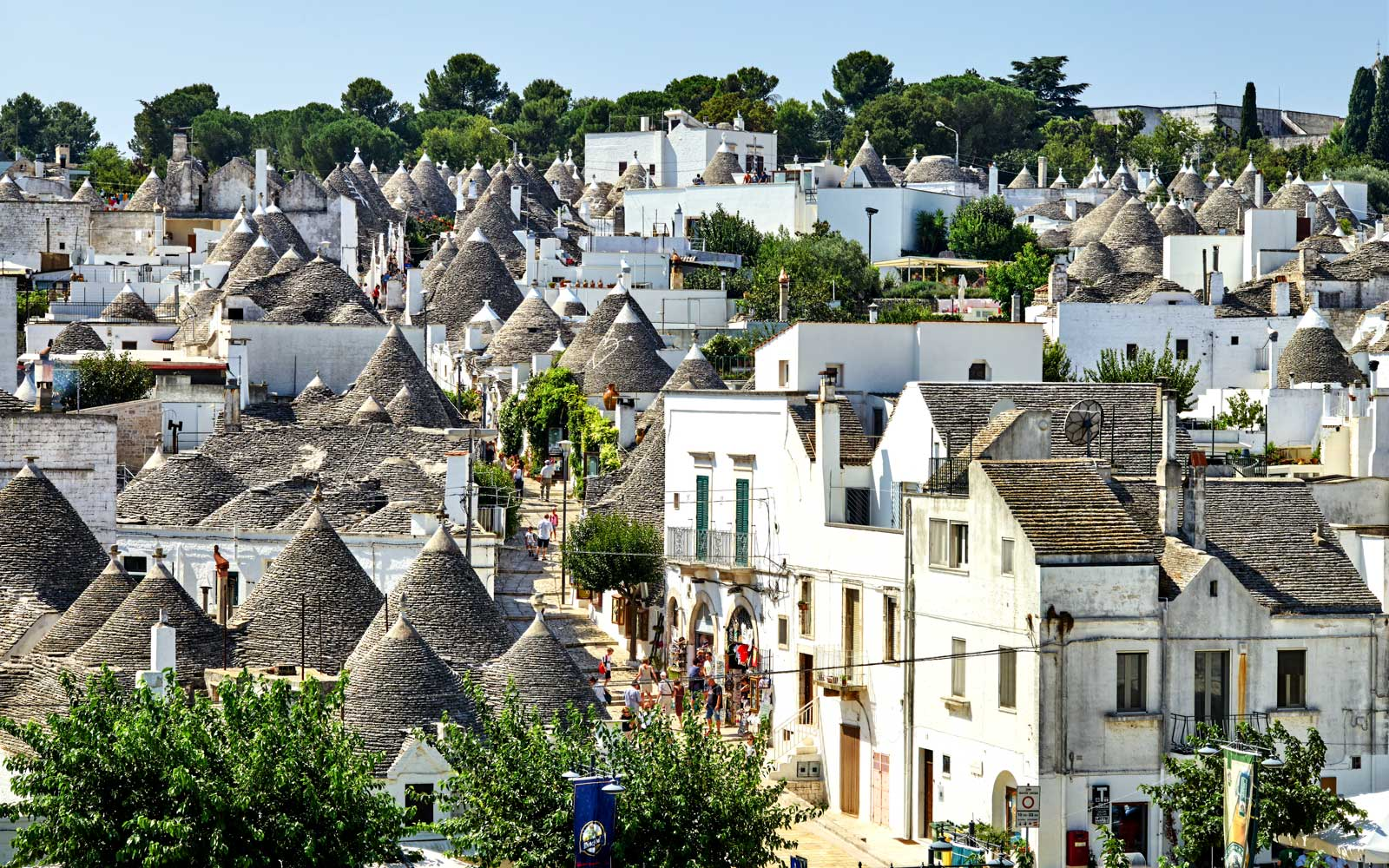 Trulli and skyline, Alberobello, UNESCO World Heritage Site, Apulia, Italy,