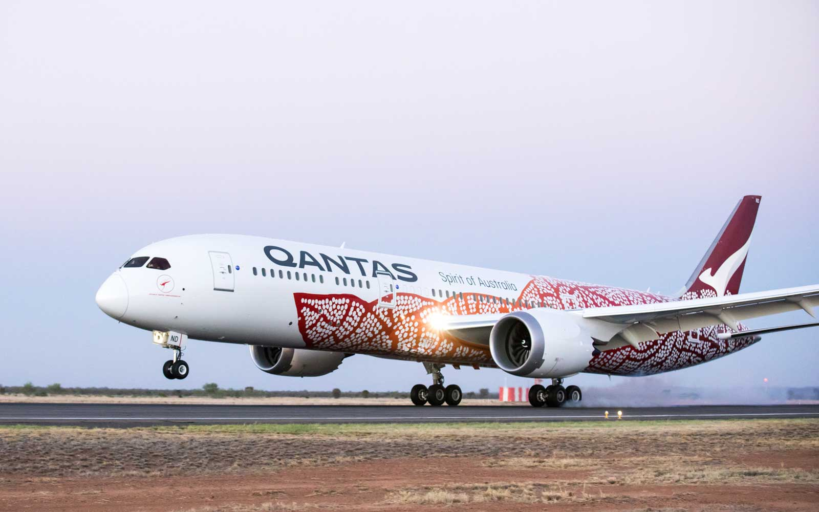 Qantas airlines plane painted with Indigenous artwork