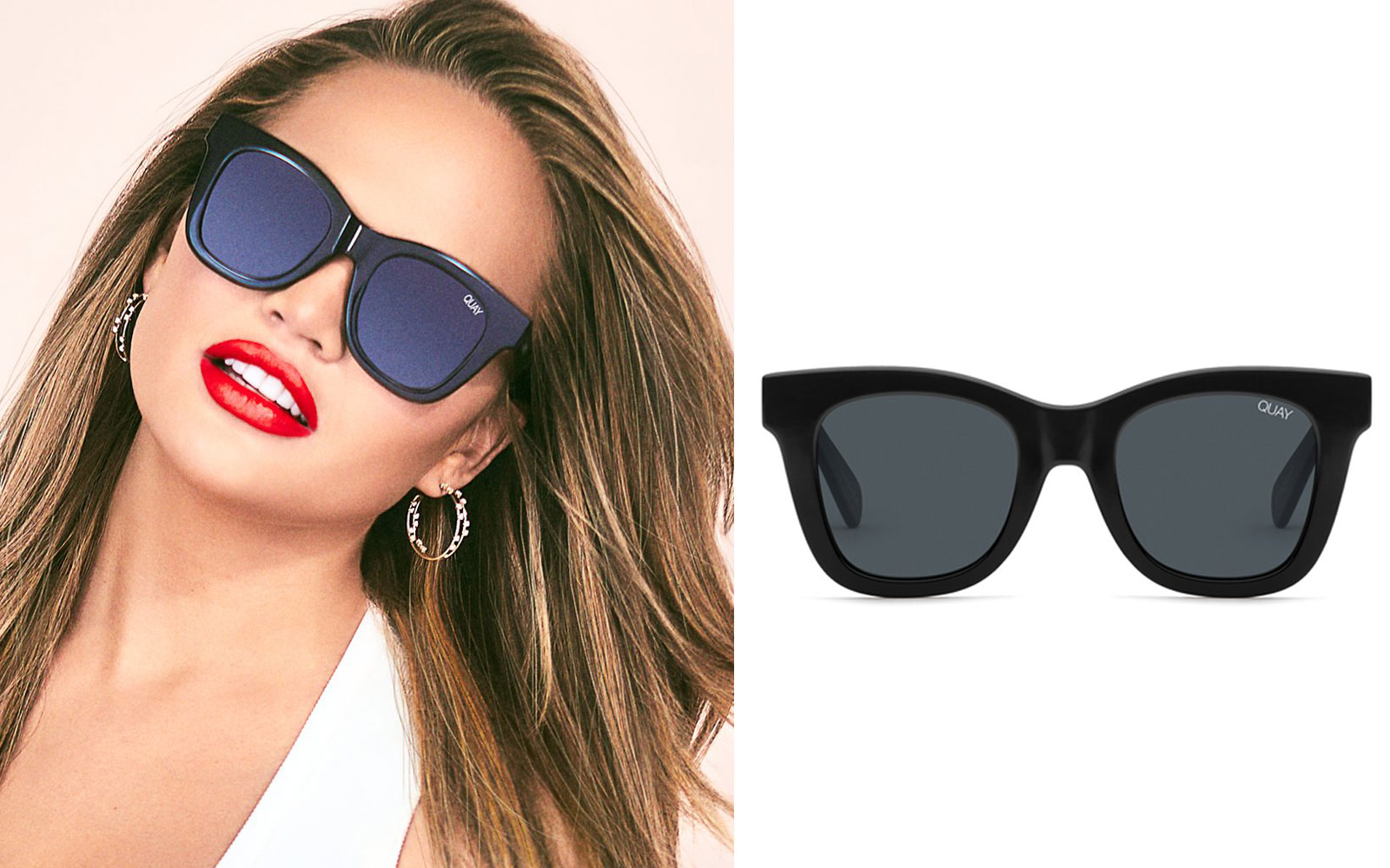 Chrissy Teigen wearing black sunglasses