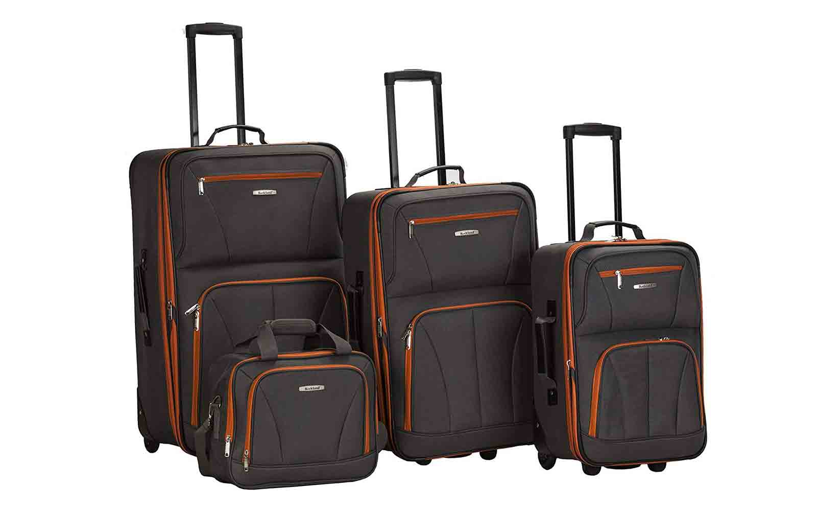 Rockland Luggage 4 Piece Set, Charcoal