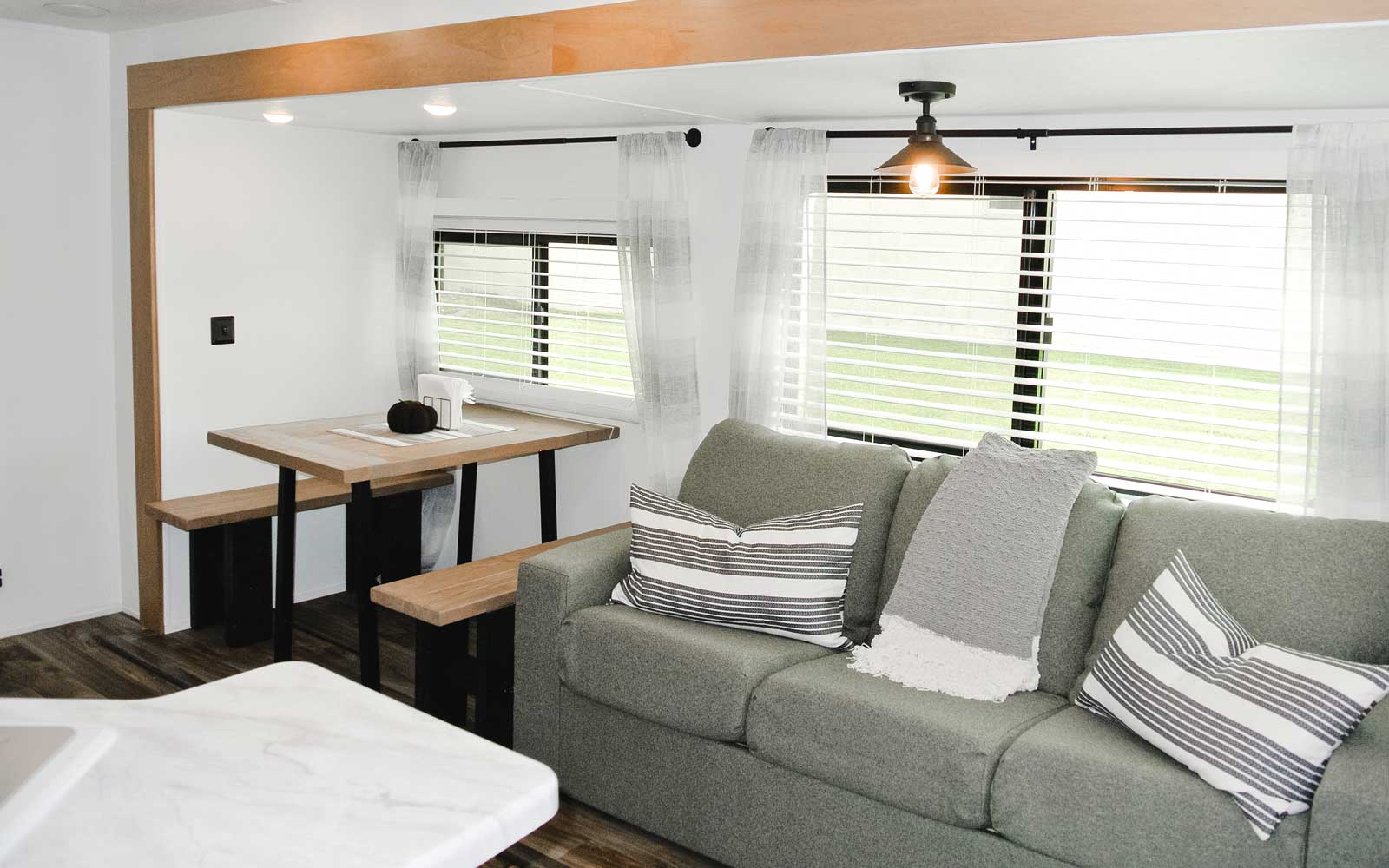 Living and dining in an RV