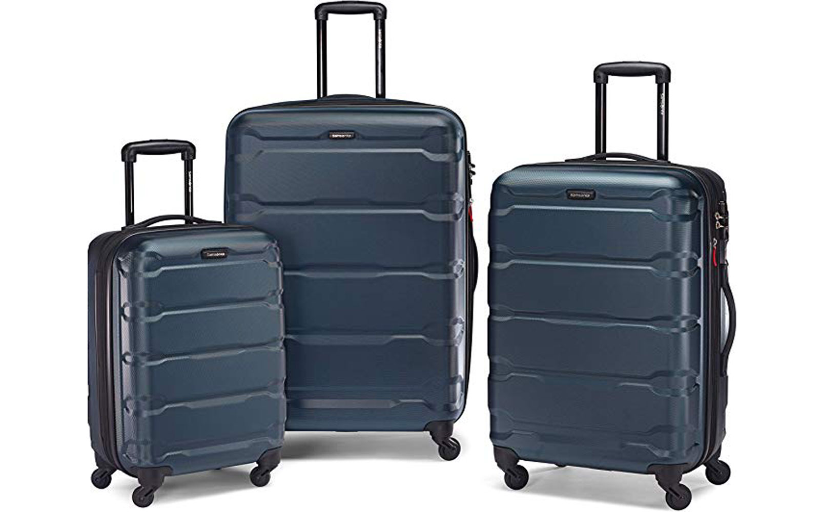 Set of Three Dark Grey/Blue Hardside Suitcases