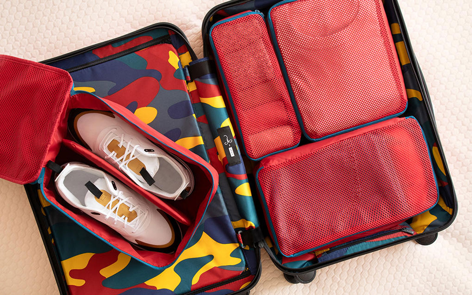 Interior of Away Suitcase with Packing and Shoe Cubes