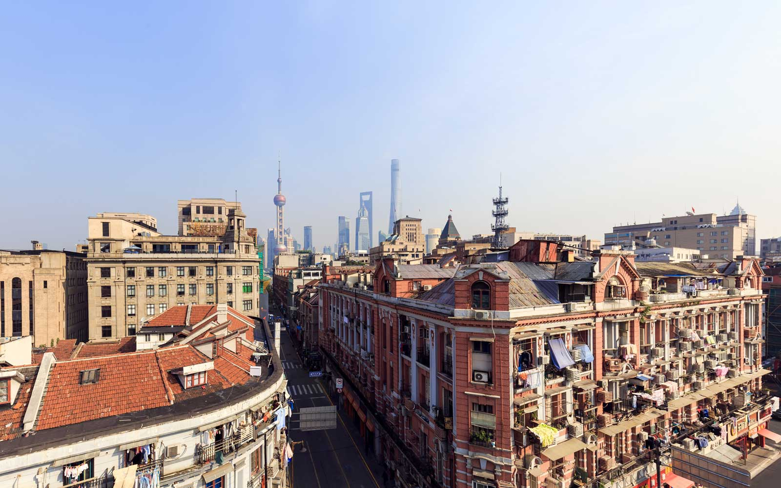 Aerial view of Shanghai cityscape and city skyline