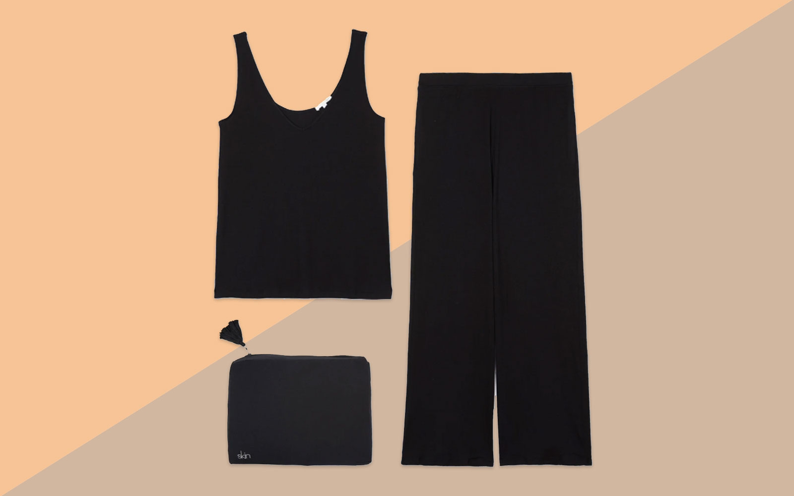 Black Pajama Tank, Pants, and Pouch