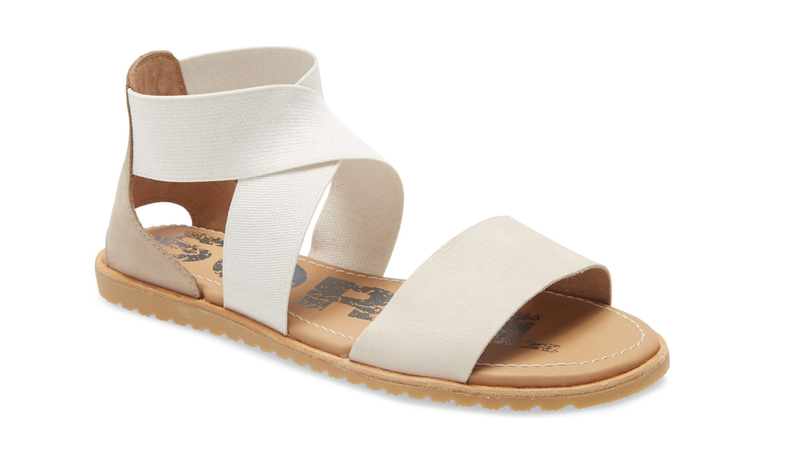 Cream and tan strappy flat sandals