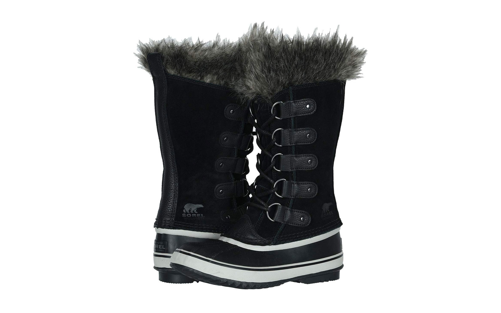 Women's Black Tall Snow Boots With Fur