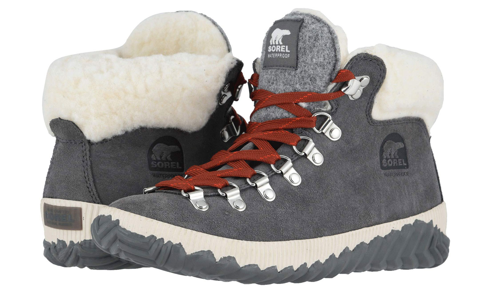 Women's Grey Lace Up Snow Boots with Sherpa