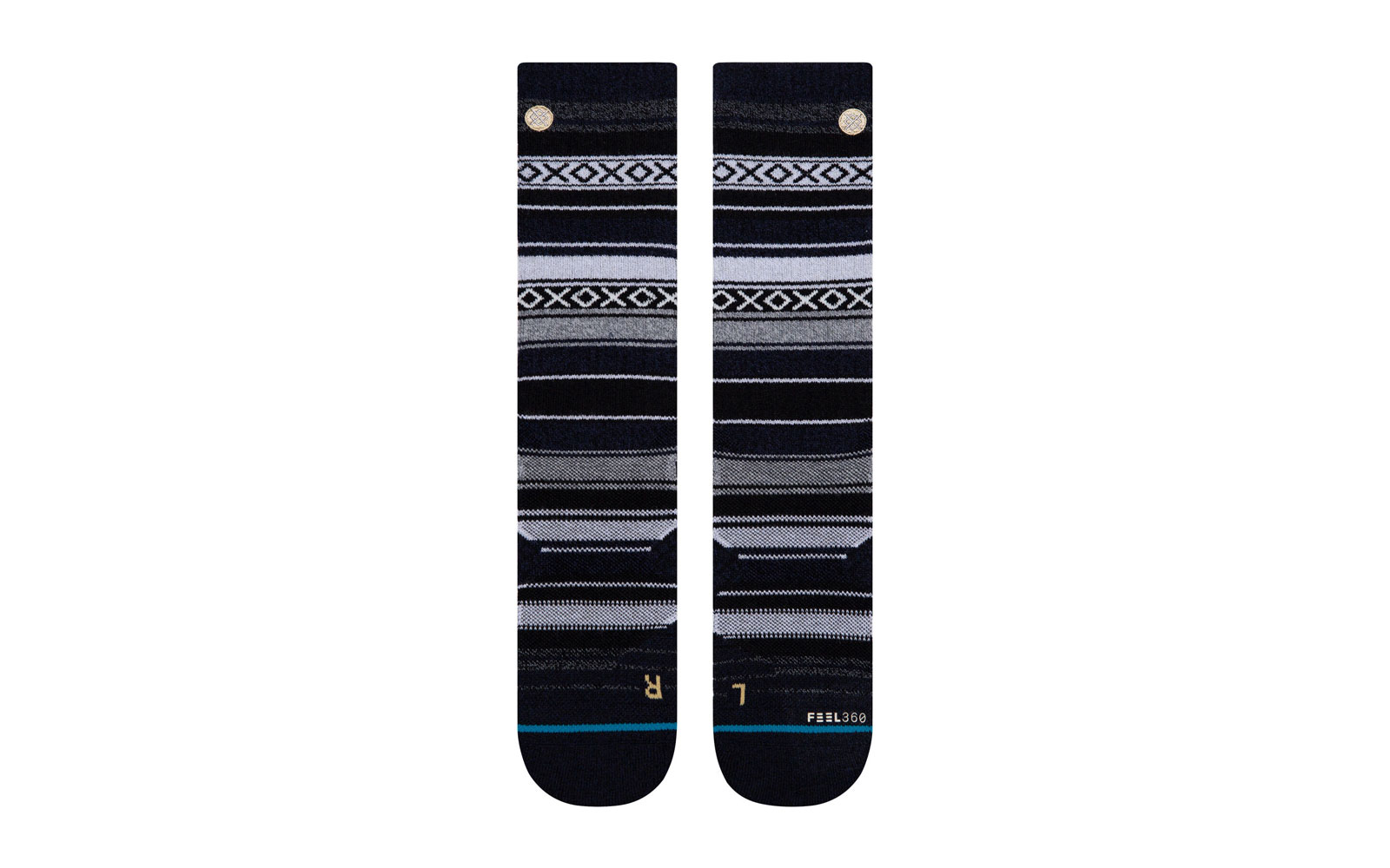 Black and Grey Patterned Crew Socks
