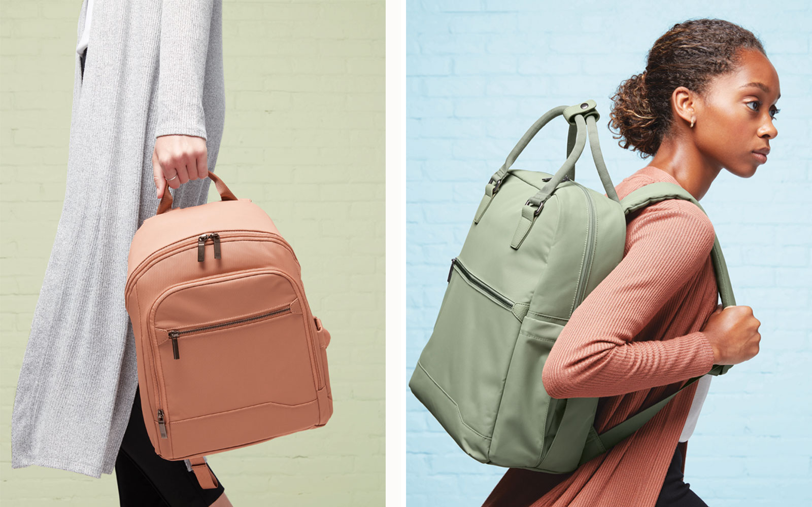 Two Women's Backpacks in Pink Light Pink and Green