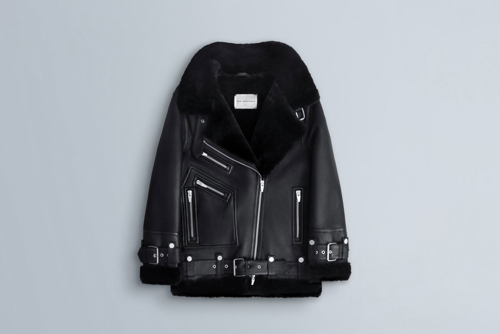 Black leather and shearling women's jacket