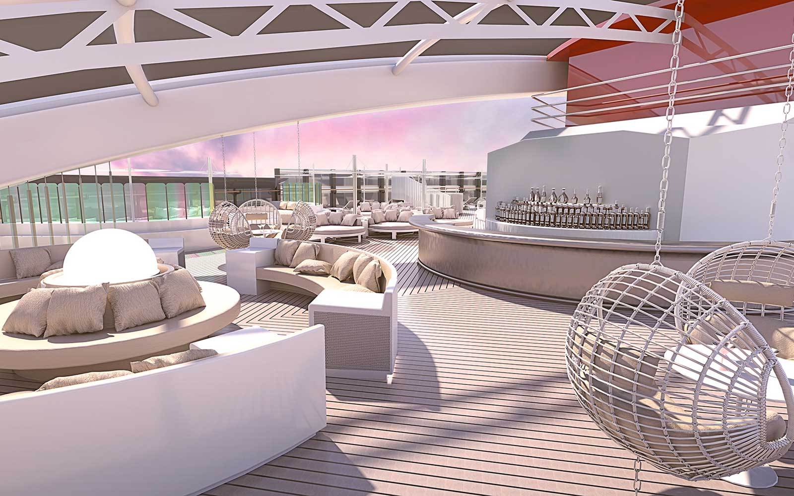 Rendering of Richard's roof deck on board Virgin Voyages ship