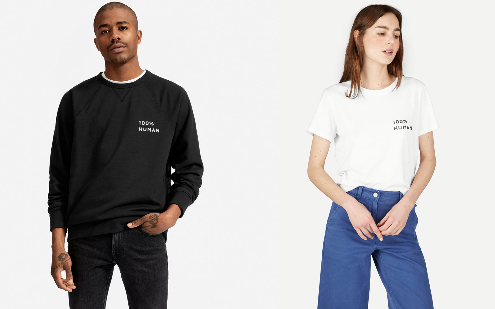 Man and woman wearing black and white sweatshirt and t-shirt