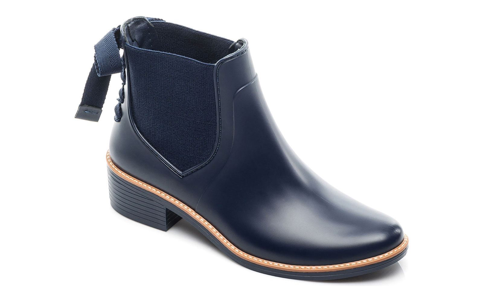 Women's short navy rain boots