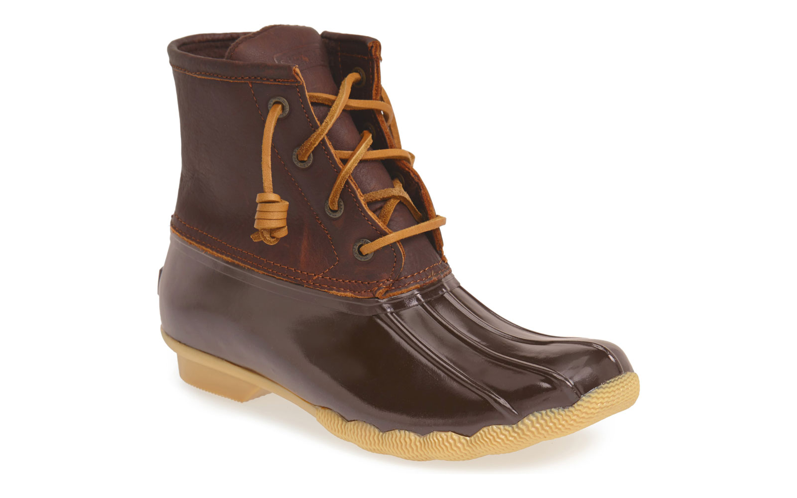 Women's brown leather rain boots