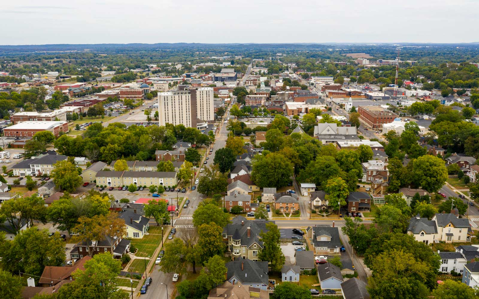 Aerial View over the Urban Downtown Area of Bowling Green Kentucky