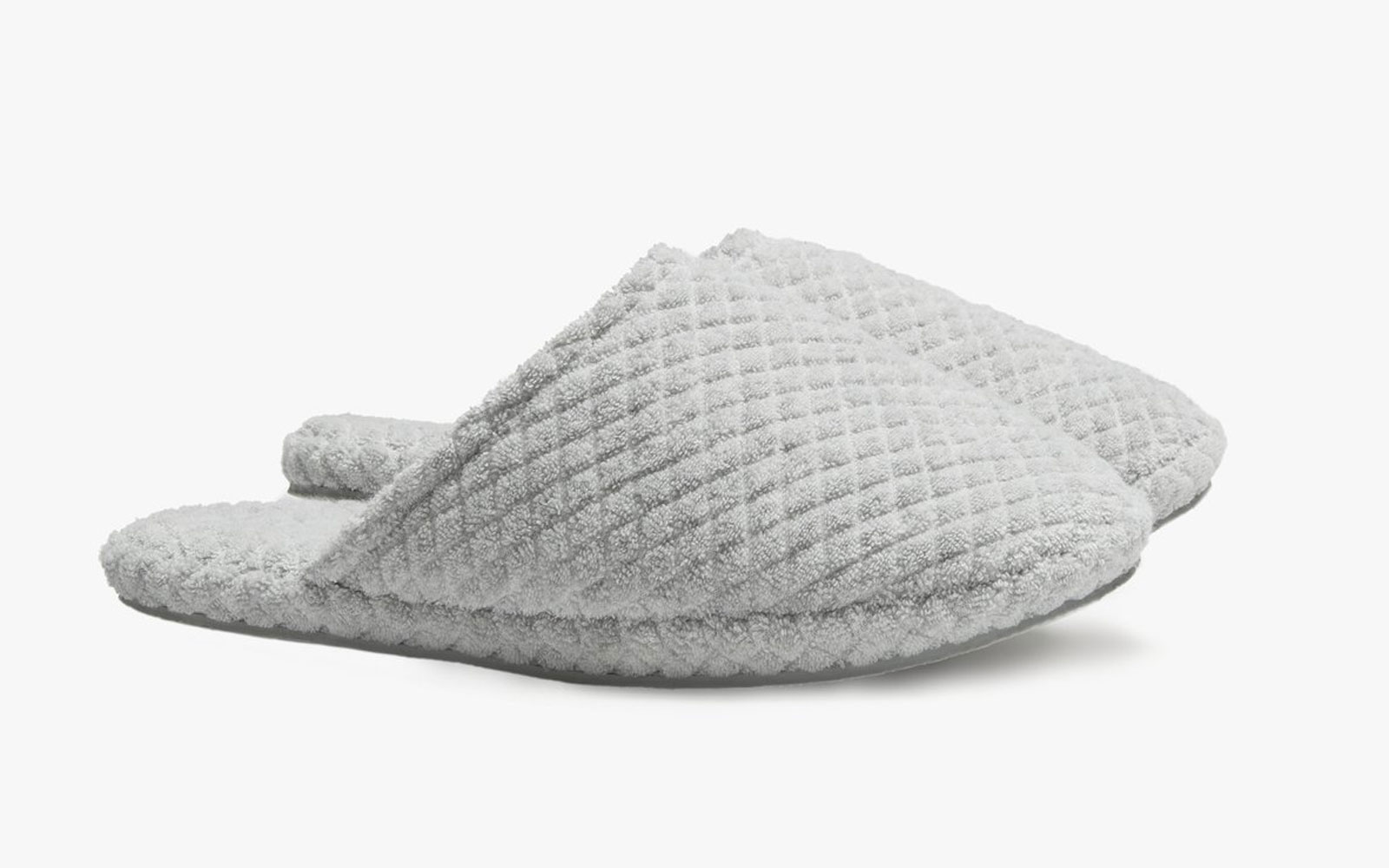 Grey terrycloth slippers