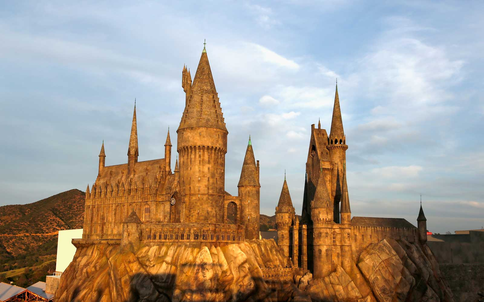 Exterior view of Hogwarts castle at the opening of the 'Wizarding World of Harry Potter' at Universal Studios Hollywood