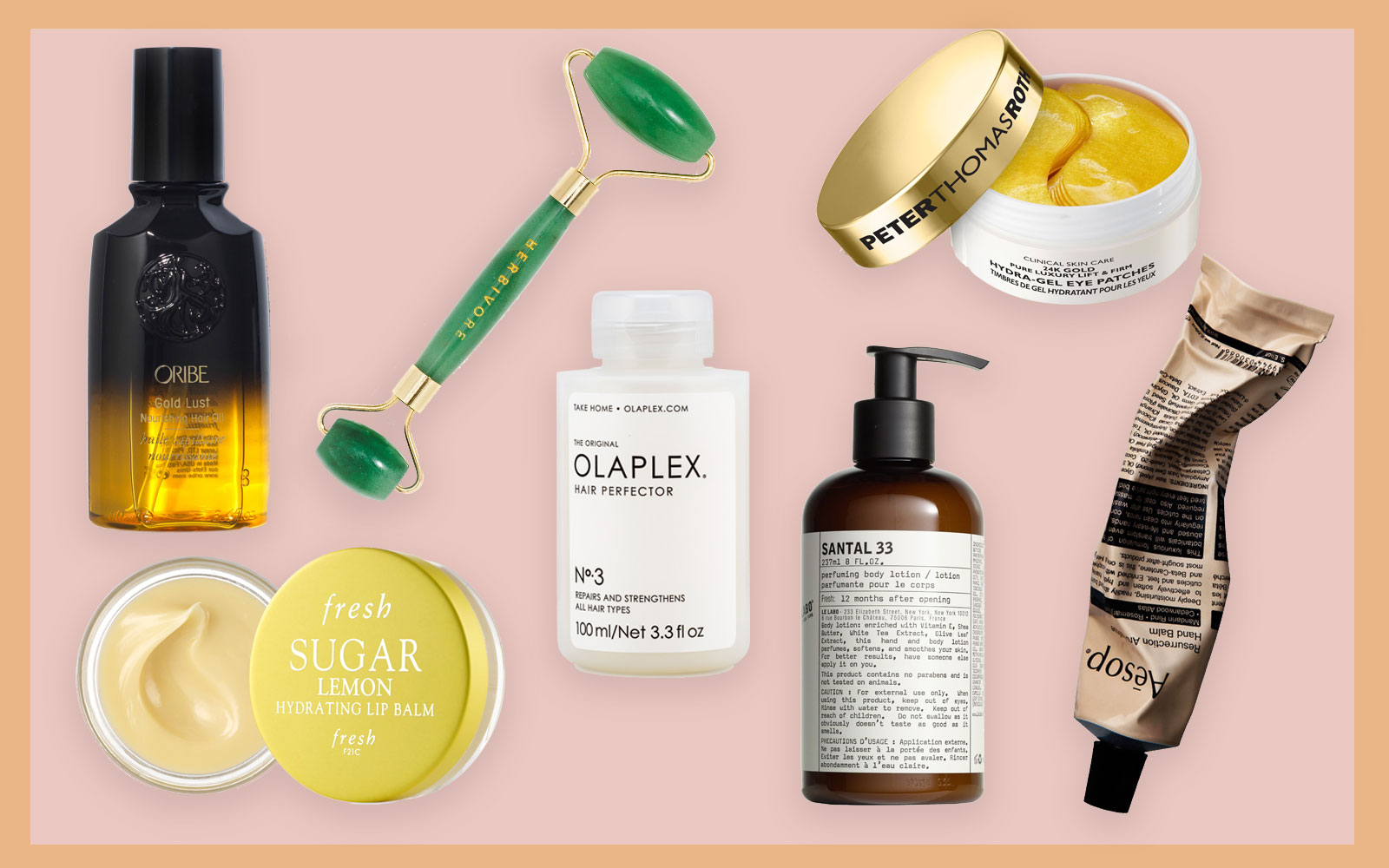 Variety of self-care beauty products