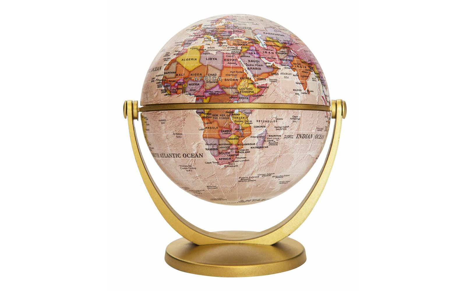 Multi-colored globe in gold stand