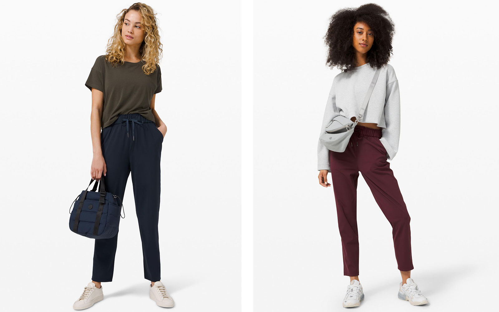 Women wearing navy and dark red jogger pants