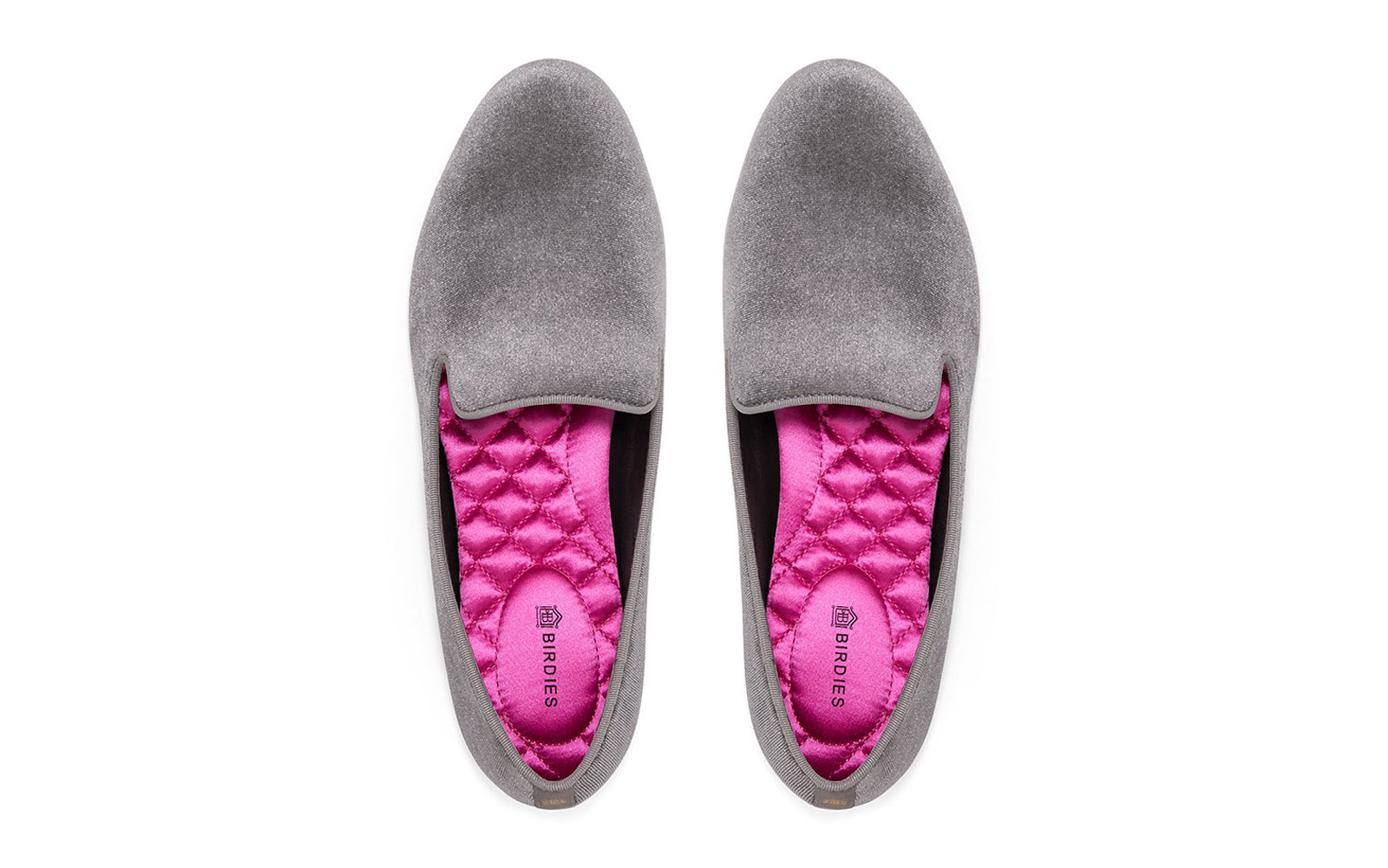 Grey velvet slippers