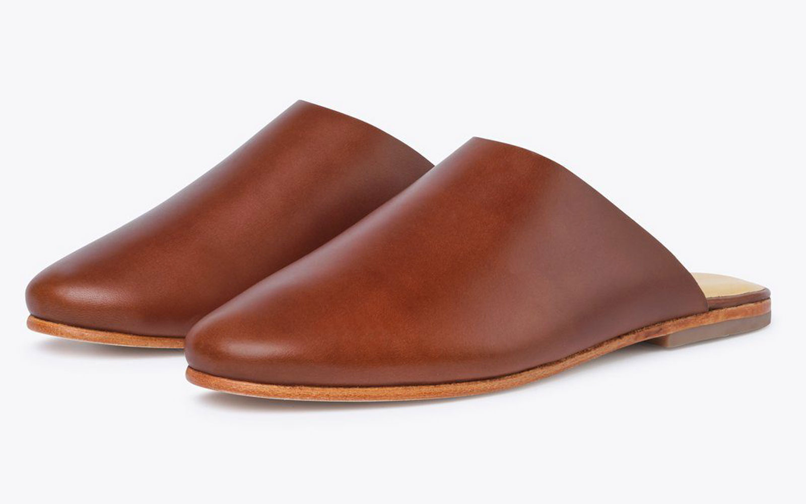 Brown leather slip on mules