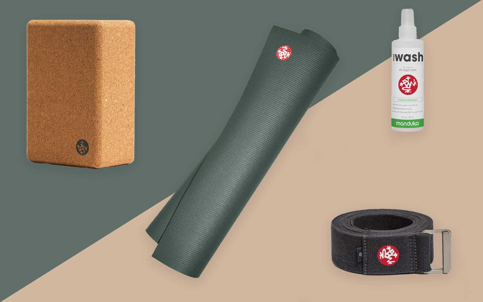 Yoga mat, block, and strap