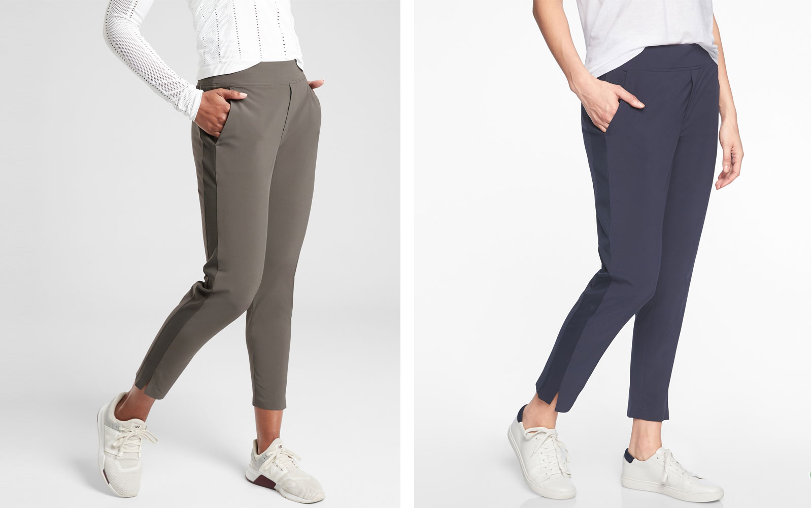 Two pairs of lounge pants, olive and navy