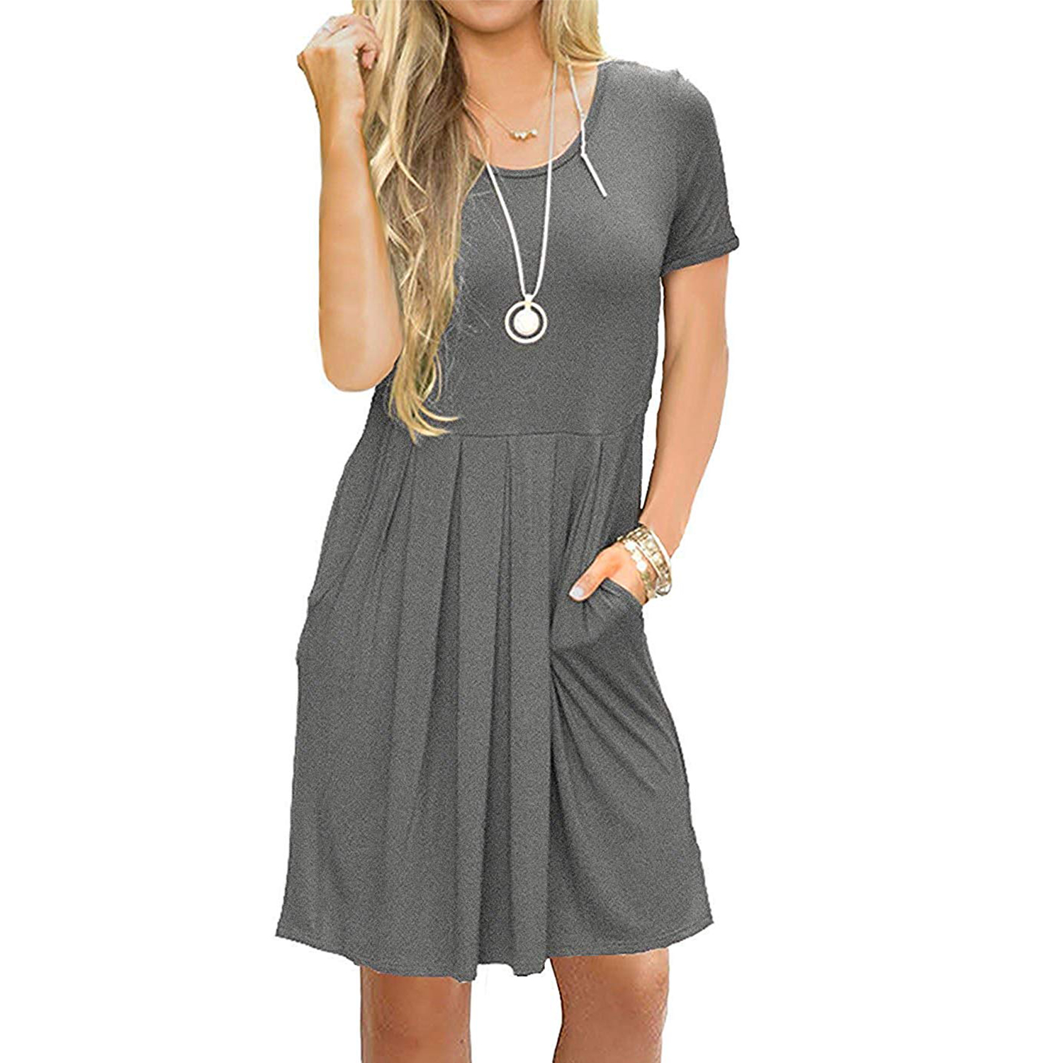 AUSELILY Women's Short Sleeve Pleated Loose Swing Casual Dress