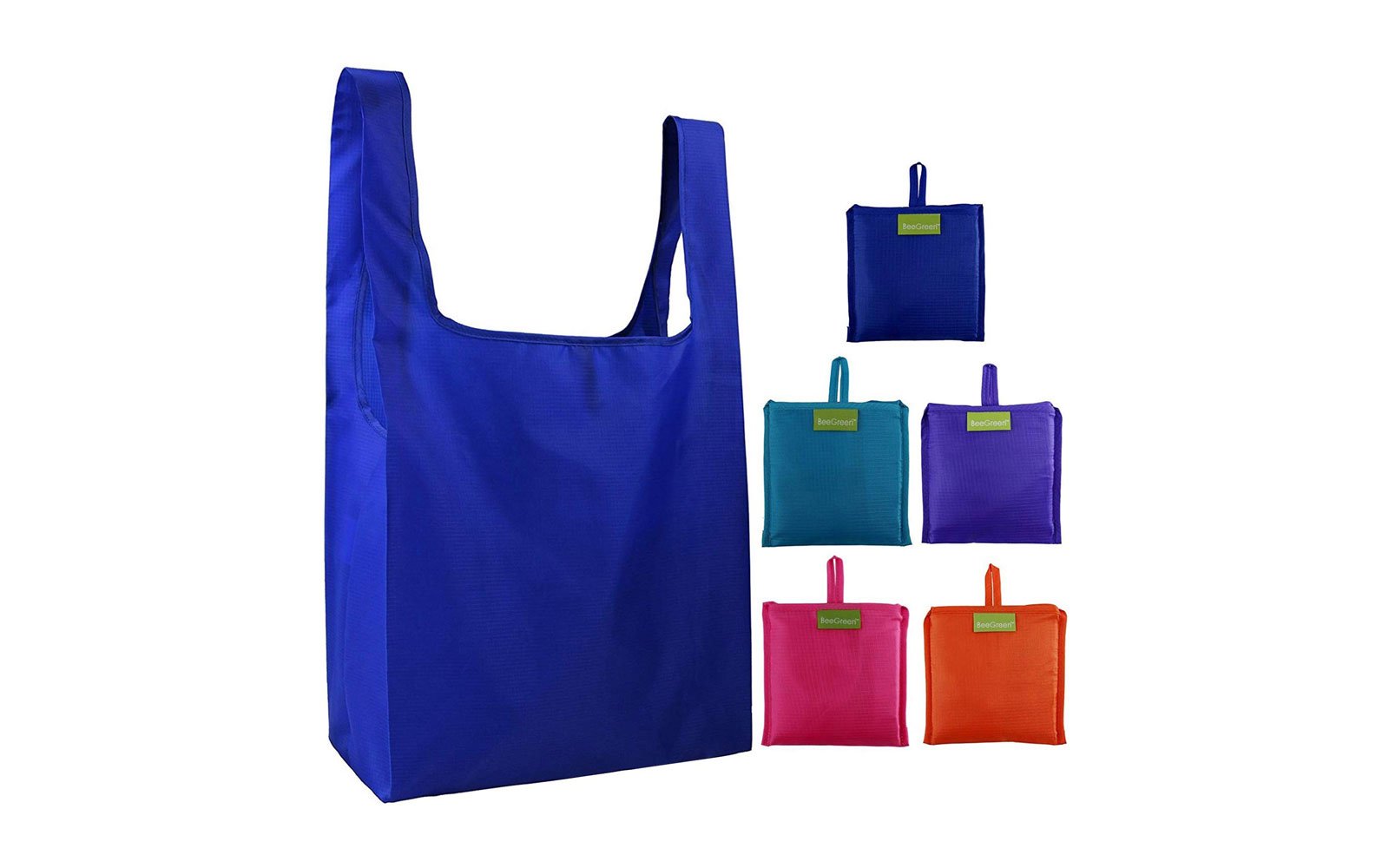 Blue nylon shopping bag