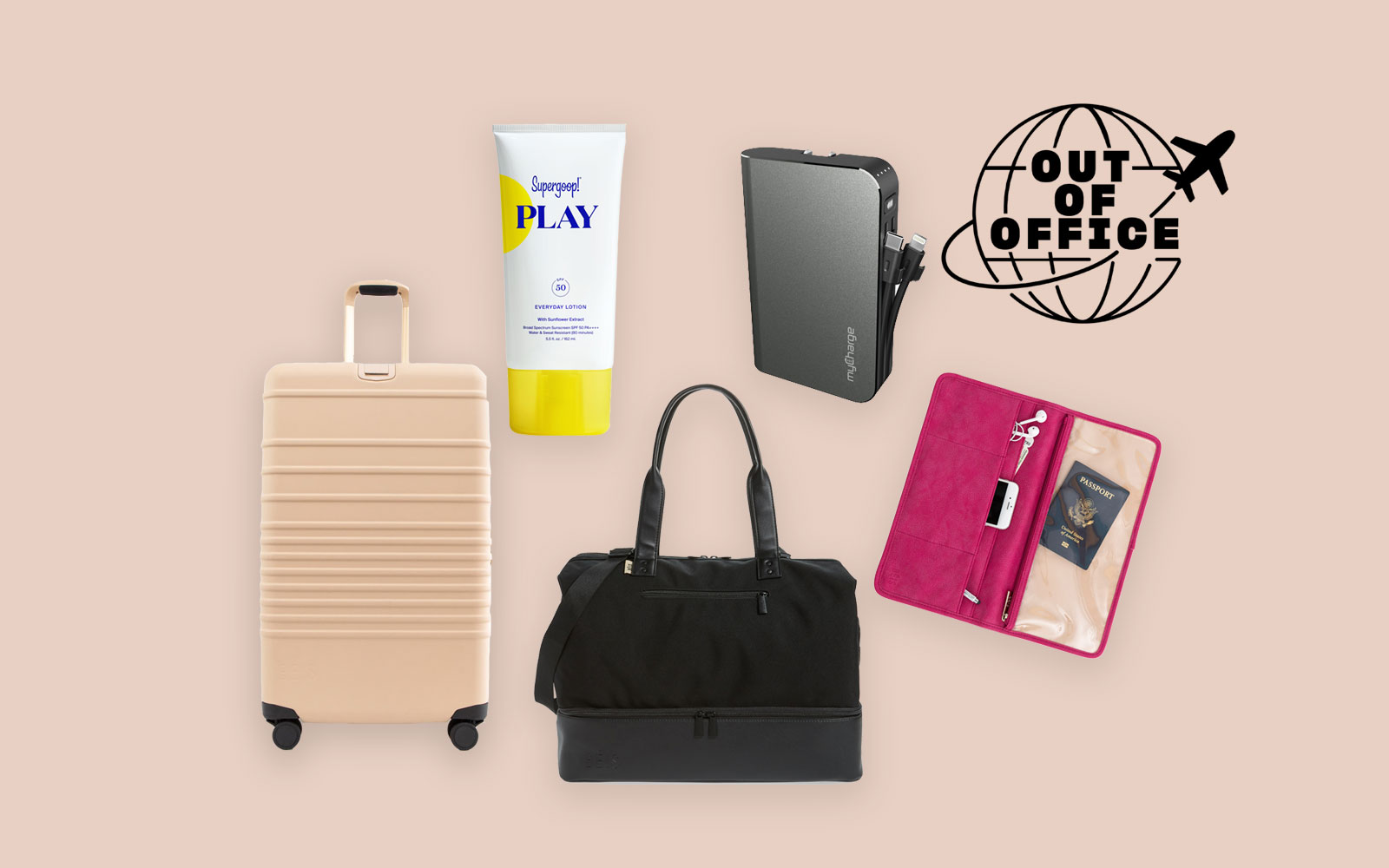 Rolling suitcase, black weekender bag, tech accessories