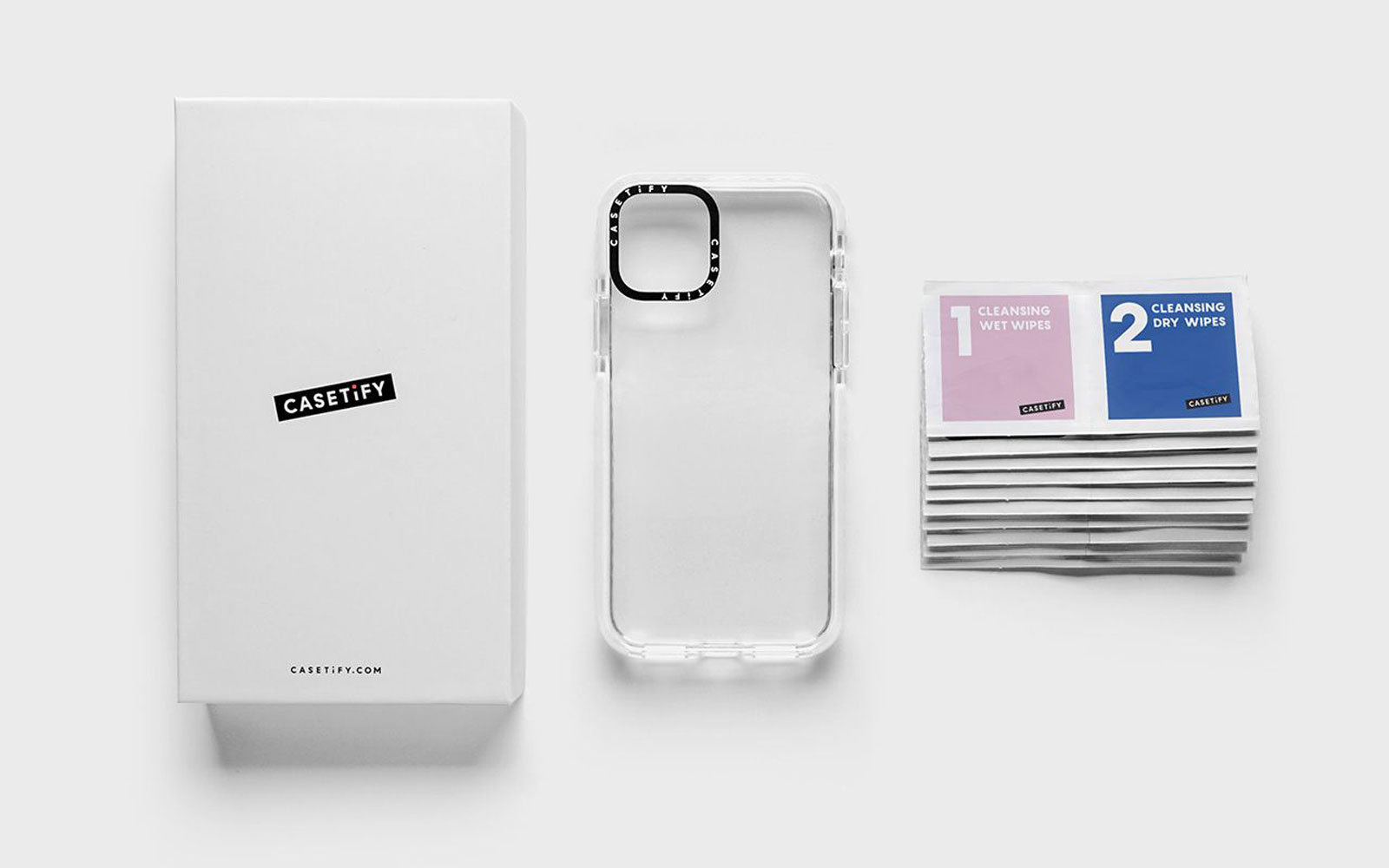 Clear phone case and sanitizing wipes
