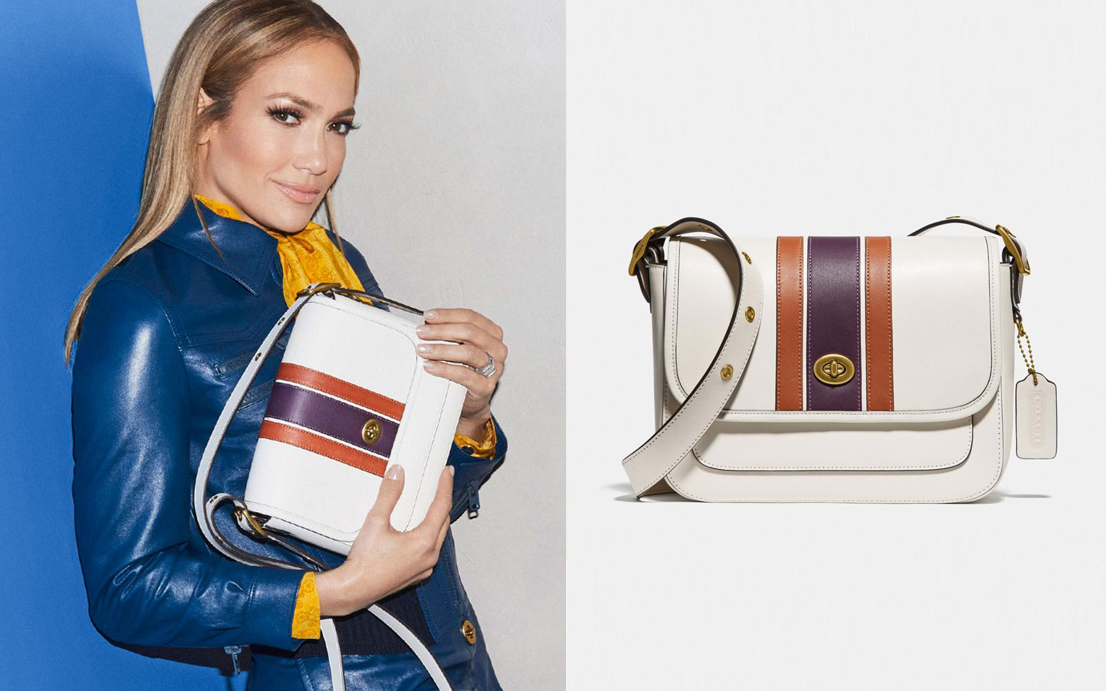 Jennifer Lopez and Coach cream leather crossbody purse