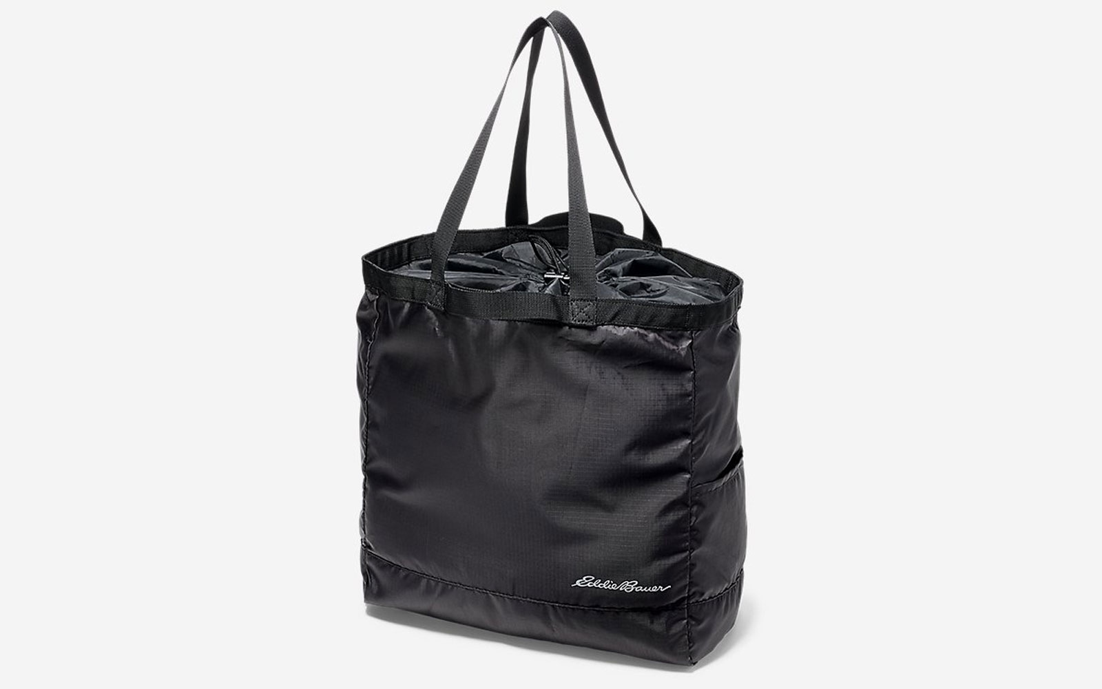 Black cinch shopping tote