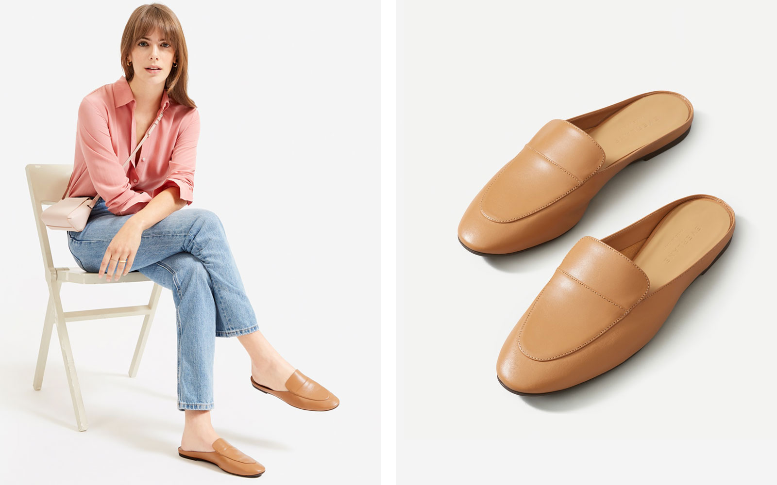 Woman wearing camel leather loafer mules