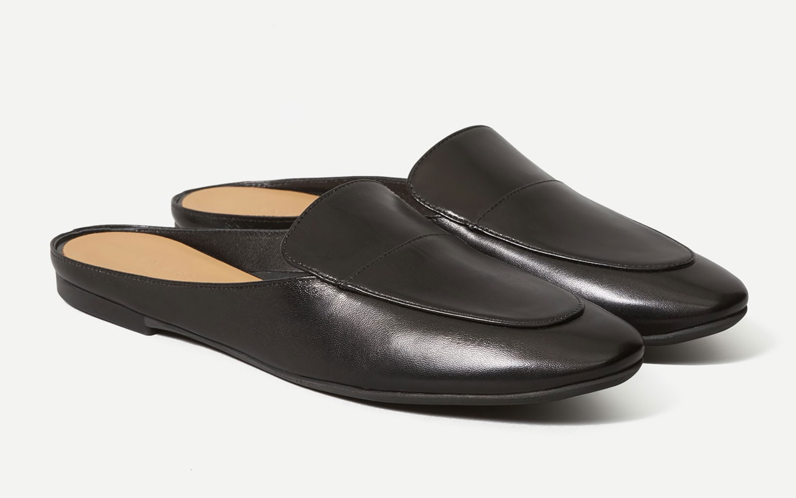 Black loafer mules